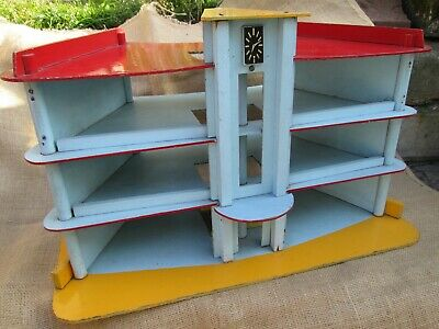 Large Vintage Childs Wooden Toy Garage,antique Poss Hand Made Classic Car Garage