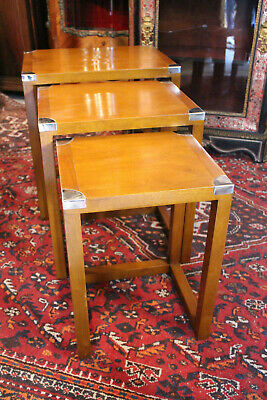 Suite of 3 Tables Pull-Out Style Marine Mahogany Blond Solid