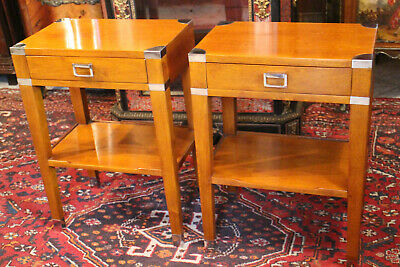 Pair of Tables Nightstands Tips of Sofa Style Marine Mahogany Blond Solid