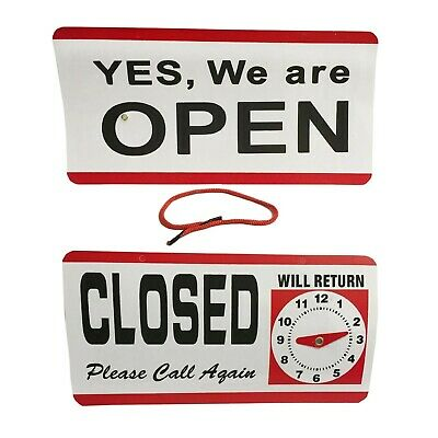 Open And Closed Sign With Return Time Clock Double_Sided Plastic Uk
