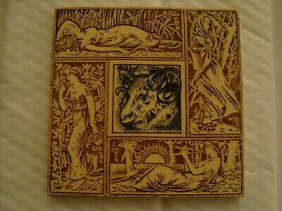 Antique Aesthetic 4 seasons tile with Aries Ram in centre of tile 19/94