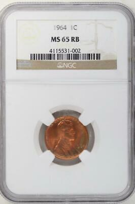 1964 Lincoln Memorial Cent NGC MS65RB - Nice Toning *DoubleJCoins* 1000-79