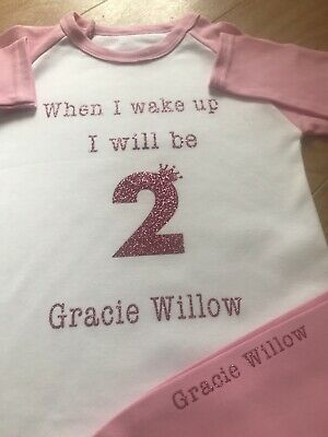 When I wake Up I Will Be 2 Pyjamas Aged 2-3 Years Girls Personalised Pjs One 2nd