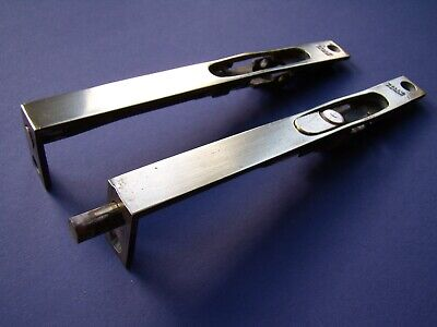 "Pair HALL'S PATENT antique flush brass cabinet sliding door bolts 5 1/8"" x 1/2"""