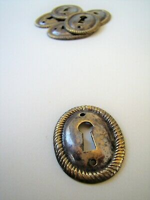 "Decorative oval antiqued stamped brass cabinet keyhole escutcheon 1 1/2"" [CER1]"