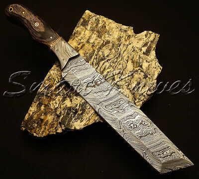 Smart Knives Hand Made Damascus Steel Full Tang Hunting Knife Tanto Knife Bowie