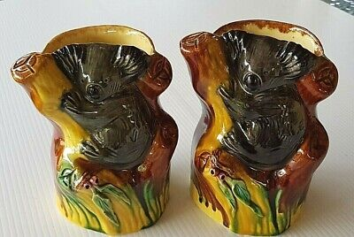 Pair Of Delamere Pottery Classic Art Ware Large Koala Vases Gumnuts & Leaves