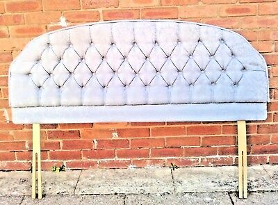 King Size Headboard  French Style  Grey buttoned