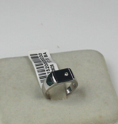 ITALINA Wedding Engagement Black Agate 18k white gold men's ring size 12
