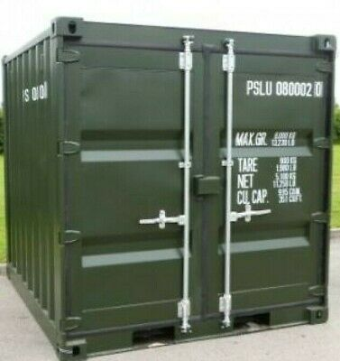 8ft  X 7ft ONCE USED SHIPPING CONTAINER (GREEN)