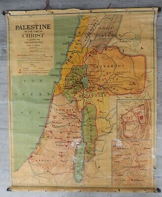 Large Vintage Cloth Map Palestine In The Time Of Christ George Philip & Son