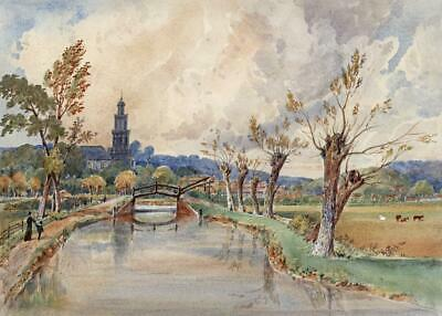 ST MARY'S CHURCH BANBURY Victorian Watercolour Painting 19TH CENTURY
