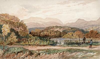 SNOWDONIA FROM BARMOUTH WALES Small Victorian Watercolour Painting 19TH CENTURY