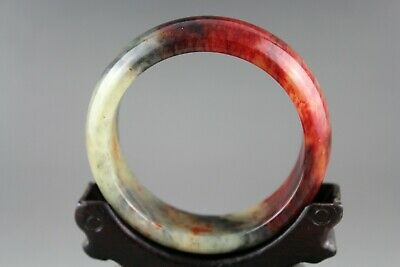Exquisite Chinese old antique red blood gray jade hand-carved small bangle 0896