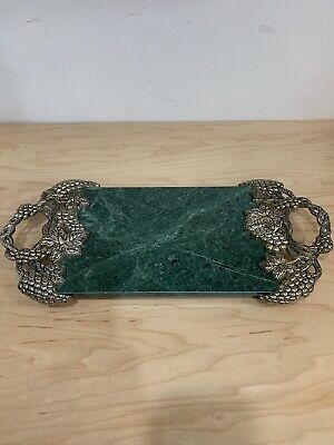 Vintage Godinger Silver Plated Grape & Vine Green marble Serving Tray