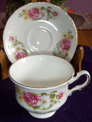 Queen Anne Fine Bone China Cup and Saucer Model 8539 Numbered Roses England  2