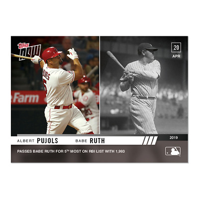 2019 Topps Now #112 Albert Pujols Passes Babe Ruth For 5Th Rbi Overall Angels