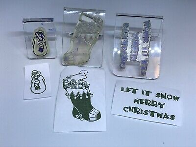 Clarity clear mounted stamps - Let it Snow Merry Christmas snowman stocking