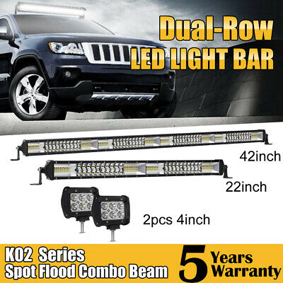 "Dual Row 42/"" inch 2176W Flood Spot LED Work Light Bar Offroad Boat  HIgh Bright"