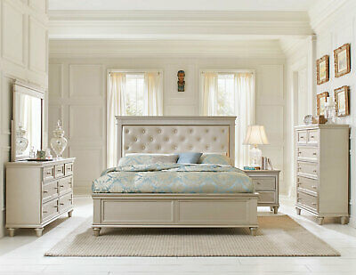 WINSLOW Traditional Bedroom Set In Pearl Silver Finish 5 Piece Group W.  King Bed