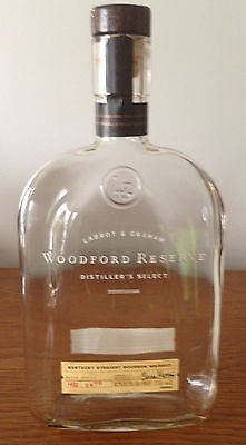 Lot of 2 Empty WOODFORD RESERVE Bourbon Whiskey Bottles 1 LITER/ WITH CORKS