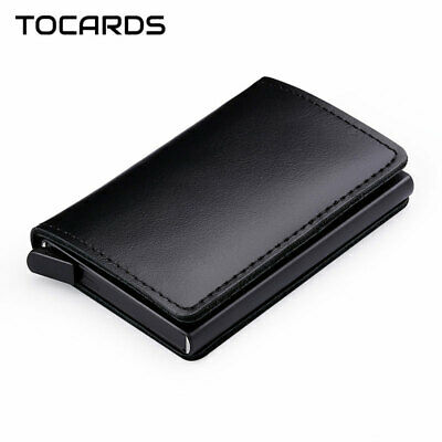 RFID Protected 100% Genuine Leather Card Holder Aluminum Metal Business ID