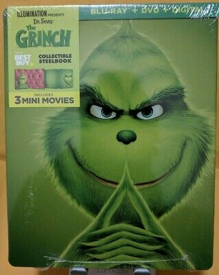 Dr. Seuss' THE GRINCH [Blu-ray+DVD+Digital] BRAND NEW!! STEELBOOK!
