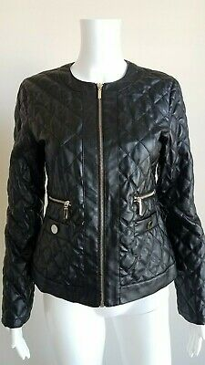 cb38c66356 Mona Leah Couture Paris Quilted Faux Leather Vegan Black Jacket Women's  Small S
