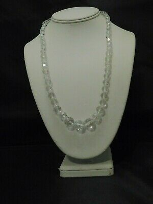 Art Deco MCM Estate Faceted Disco Ball Glass Beaded Necklace Signed Clasp