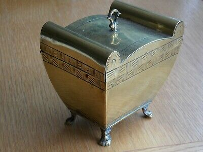 Nice Antique Brass Tea Caddy On Paw Feet Tapered Shape With Scroll Tops