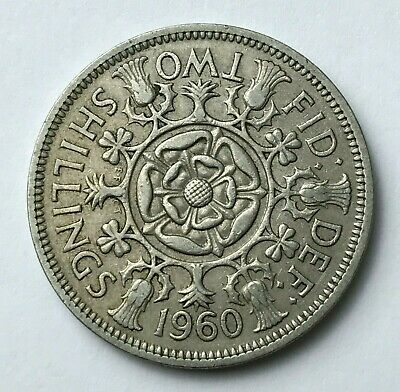 Dated : 1960 - One Florin - Two Shillings Coin - Queen Elizabeth II