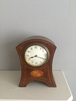 Heavy Oak Cased Edwardian Inlaid Mantle clock