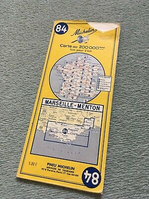 Vintage Michelin Road Map No 84 Marseille-Menton
