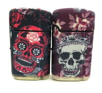2 Mexican SUGAR SKULL Design Wind Proof TORCH Lighters Refillable Butane Outdoor