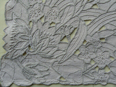 Lovely vintage hand embroidered tablecloth with cutwork Iris 44 x 48inches appro