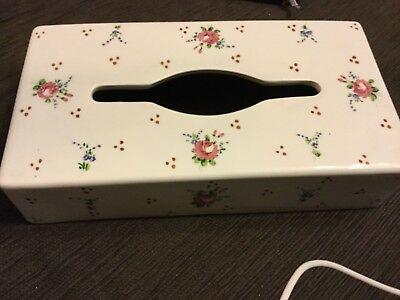 28x15x6cm HANDPAINTED Italian porcelain tissue box cover Near new Unwanted gift