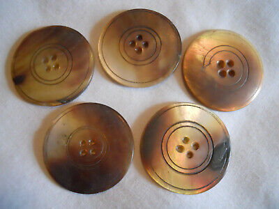 Vintage Mop Mother Of Pearl 4-Hole Buttons Lot Of 5