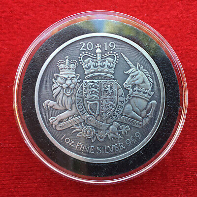 2019 BRITISH SILVER ROYAL ARMS 1 OZ .9999 Silver Coin - Custom Antique Finish