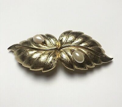 Vintage MIMI DIN D'IN NISCEMI 1990 Belt Buckle Golden Toned Pearl Leaves