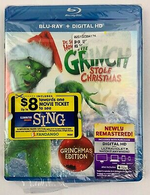 Dr. Seuss How the Grinch Stole Christmas Blu-ray + Digital HD - New Damaged Case
