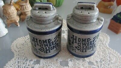 vintage salt and pepper shakers HOME SWEET HOME MILK CANS RETRO KITCHEN KITSCH