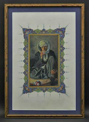 Islamic Indo Persian Central Asian Turkish? Miniature Painting Man Drinking Tea