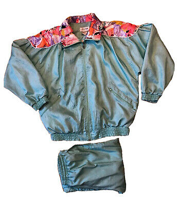 Vtg 80s LAVON Windbreaker Jogging TRACK SUIT Jacket Pants Nylon Spring - Small