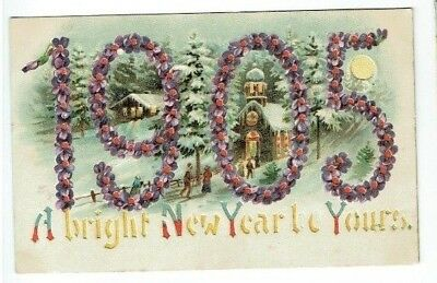 "Old Novelty Postcard "" 1905 "" Hold To Light New Year Greetings"