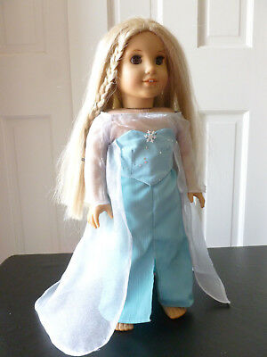 "NO SHOES AFW FROZEN INSPIRED ELSA DRESS #269 TEAL SEQUIN SLEEVE for 18/"" Dolls"