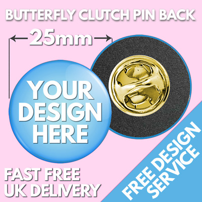 25mm Custom Clutch Pin Badges • Bespoke Button Badge • Hen Stag Wedding Band