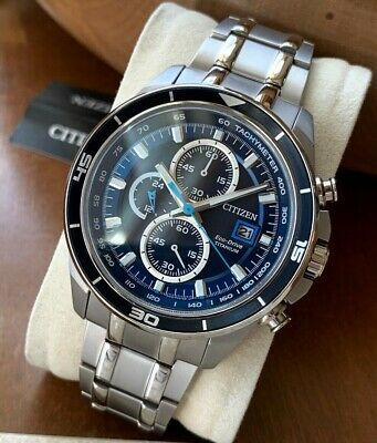 Citizen Eco-Drive Men's Watch CA0349-51L Titanium Date Solar Blue Chronograph WR