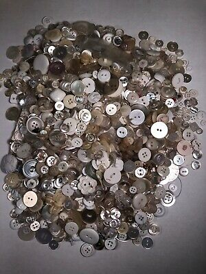 Lot of WHITE IVORY CREAM vintage buttons 1.3 Lbs Craft Sewing Projects