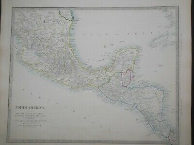 Hand Coloured c1845 Victorian SDUK Map of Southern Mexico, Central America - 127