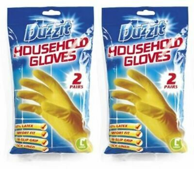 4 x Pairs Duzzit Household Cleaning Washing Up Latex Rubber Gloves Large